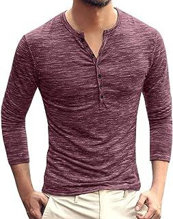 SANFASHION Men's Long Sleeve Shirt Mens Slim Fit Long Sleeve Plaid Printings Business Checked Shirt Mens Dress Shirt Slim ...