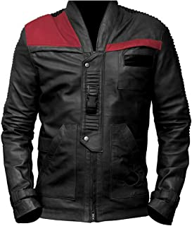 ST Mens Biker Jacket Black n Red Poe Dameron Star Wars Finn Costume in Slim Fit Big Tall Boys Kids Size