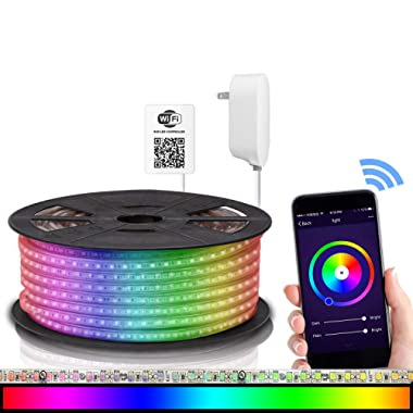 Maxonar LED Strip Lights Works with Alexa (32.8Ft / 10M) WiFi Wireless Smart Phone Controlled DIY Kit SMD 5050 RGB Multicolor Waterproof IP65 600LEDs Strip Light ,Works with Amazon Echo&Google Home