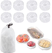 100 Pieces Food Covers for Outside, Reusable Elastic Stretch Bowl Covers, Adjustable Plastic Wrap for Food, Stretchable Bo...