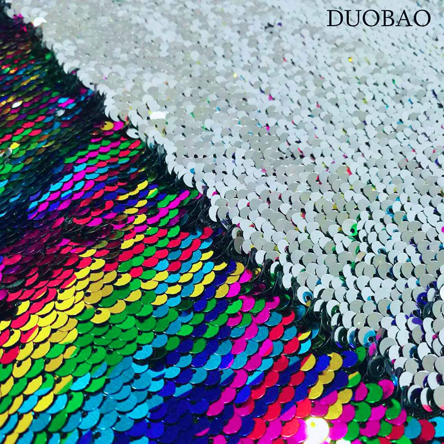 Sewing Fabric by The Yard 2 Yards Rainbow to Silver Color Change Fabric Double Sided Sequin Fabric Mermaid Sequin Fabric