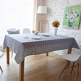 NQ-ChongTian Rayé bleu blanc gris Nappe en lin coton et linge de table Couverture Accueil Salle à manger Cuisine Tableclot...