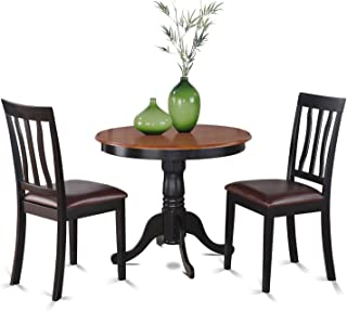 East West Furniture ANTI3-BLK-LC 3-Piece Kitchen Table Set with Breakfast Nook, Black/Cherry Finish