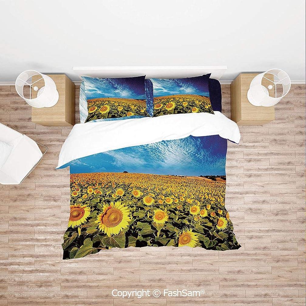 FashSam Duvet Cover 4 Pcs Comforter Cover Set Exposure Photo Sunflower Garden Field with Skyline Summer Nature Image for Boys Grils Kids(Single)
