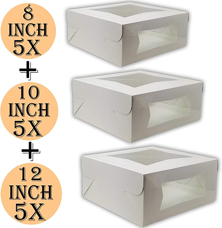 Cake Boxes 12 X 12 X 5 Cake Boxes 10 X 10 X 5 And Cake Boxes 8 X 8 X 4 Bakery Box Has Double Window Cake Supplies 5 Pack Of Each