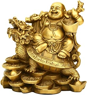 """PopTop Brass H4.5"""" Ruyi Laughing Buddha and Turtle-Wealth, Good Fortune, Health Buddha Statue for Home Office Decor"""