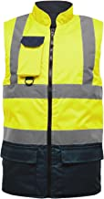 Hi Viz Vis Bodywarmer Fleece Lined Reversible High Visibility Reflective Waterproof Workwear Security Safety Wear Warm Gilet Waistcoat Body Warmer Padded Vest Big Size S-5XL