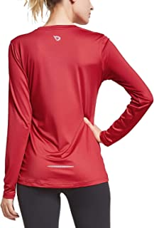 BALEAF Women's V Neck T-Shirt Long Sleeve Running Athletic Shirts
