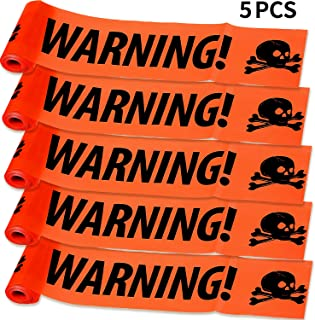 5 Pieces Halloween Warning Tapes Caution Tapes Skull Warning Strips Halloween Danger Tapes for Halloween Haunted House Party Decoration