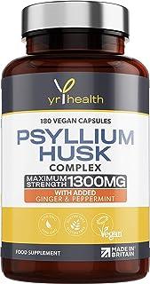 Psyllium Husk Capsules - 1300mg Fibre Supplement - 180 Vegan Capsules with Added Peppermint & Ginger - 2 Capsules not Tabl...