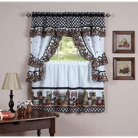 Amazon Com Chf Wines Kitchen Curtain Set 24 Inch Length Multi Home Kitchen
