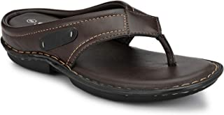 Shences Mens Brown Cushioned Footbed Slippers