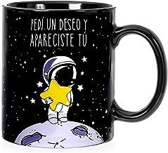 VOODOO ISLAND Taza mug Desayuno de cerámica Negra 32 cl. con Frase Bonita Pedí un Deseo y apareciste tú Modelo Estrella Fugaz