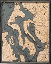 Whidbey and Camano Islands 3-D Nautical Wood Chart, Grey Frame, 24.5