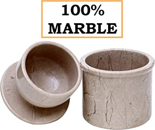 Butter Dish Keeper Handmade Marble Cold Crock Butter Holder Pot - Non Plastic Non Steel - French Style Deep Covered Cheese Flip-top Storage and Kitchen Utensil Container Case with Lid (Brown)
