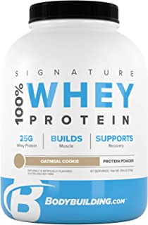 Bodybuilding Signature 100% Whey Protein Powder   25g of Protein per Serving (Oatmeal Cookie, 5 Lbs)