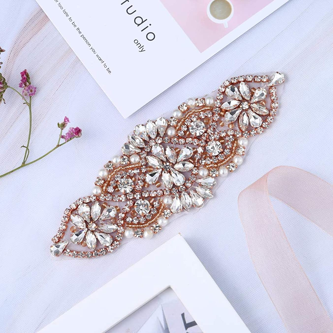 XINFANGXIU Rose Gold Small Beaded Crystal Decorative Patch Rhinestone Applique with Beaded Pearls Embellishments Sew Iron on Hot Fix for Bridal Wedding Dress Sash Belt Garters Headpieces