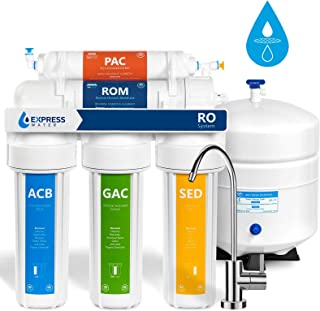 Express Water Reverse Osmosis Water Filtration System – 5 Stage RO Water Filter with Faucet and Tank – Under Sink Water Purifier – 50 GPD