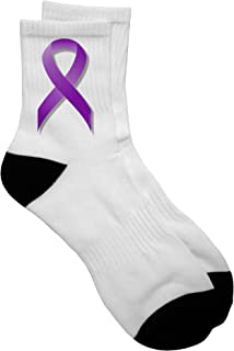 TooLoud Crohn's Disease Awareness Ribbon - Purple Adult Short Socks