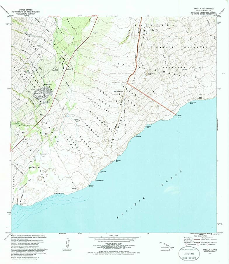 YellowMaps Pahala HI topo map, 1:24000 Scale, 7.5 X 7.5 Minute, Historical, 1981, Updated 1985, 27.7 x 24.1 in