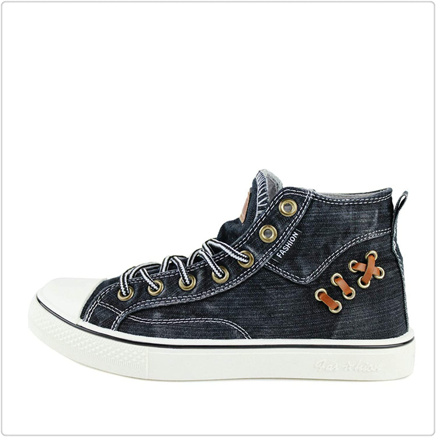 HCHBE& Women High Top Sneakers shoes Big Size 35-44 Denim Lace Up Canvas shoes