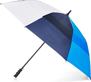 Totes Automatic Open Windproof & Water-Resistant Golf Umbrella, Navy, White, Blue