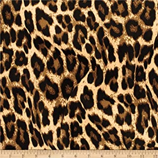 Telio Colorado Poly Faille Animal Leopard Print Fabric, Caramel, Fabric By The Yard