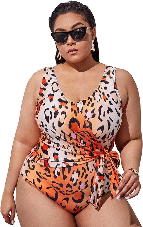 lilico Women's Sexy Leopard Print One-Piece Swimsuit Ladies High Waist Sling Bikini Top Two-Piece Swimwear Women's Sports Plus Fat