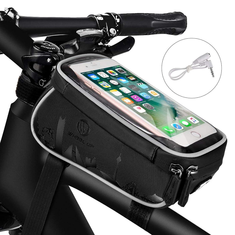 トップチューブバッグ WHEELUP 自転車 フレームバッグ サドルバッグ 収納便利 多機能 防水 防圧 防塵 耐磨耗性 二重構造 取り付け簡単 大容量 6.0インチスマホ対応 ヘッドホン延長コード付き