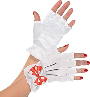 Disney Womens Minnie Mouse Red Bow Costume Fingerless Gloves White