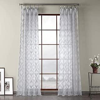 HPD Half Price Drapes SHCH-81869B-108 Capella Patterned Linen Sheer Curtain, 50 X 108, Silver