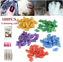 Ninery Ave 100Pcs Cat Nail Caps Pet Soft Claws Control Paws of 5 Different Shinning Crystal Colors and 5Pcs Adhesive Glue 5pcs Applicator with Instructions Support