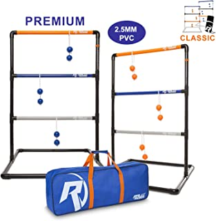 Rally and Roar Ladder Toss - Ladder Ball Toss Game - PREMIUM & CLASSIC Versions Available - For Adults, Family - Outdoor Ladders Set with Canvas Bag, Weighted Bolos, and Sand Weighted PVC Piping