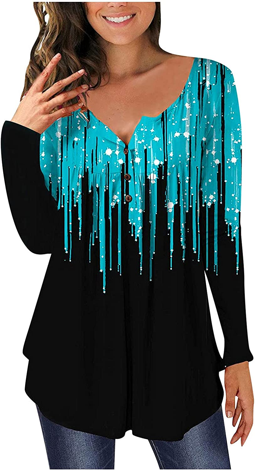 XINXX Womens T Shirts Long Sleeve V Neck Printed Henley Tunic Tops Plus Size Pleated Loose Tunic Shirt Blouse Top