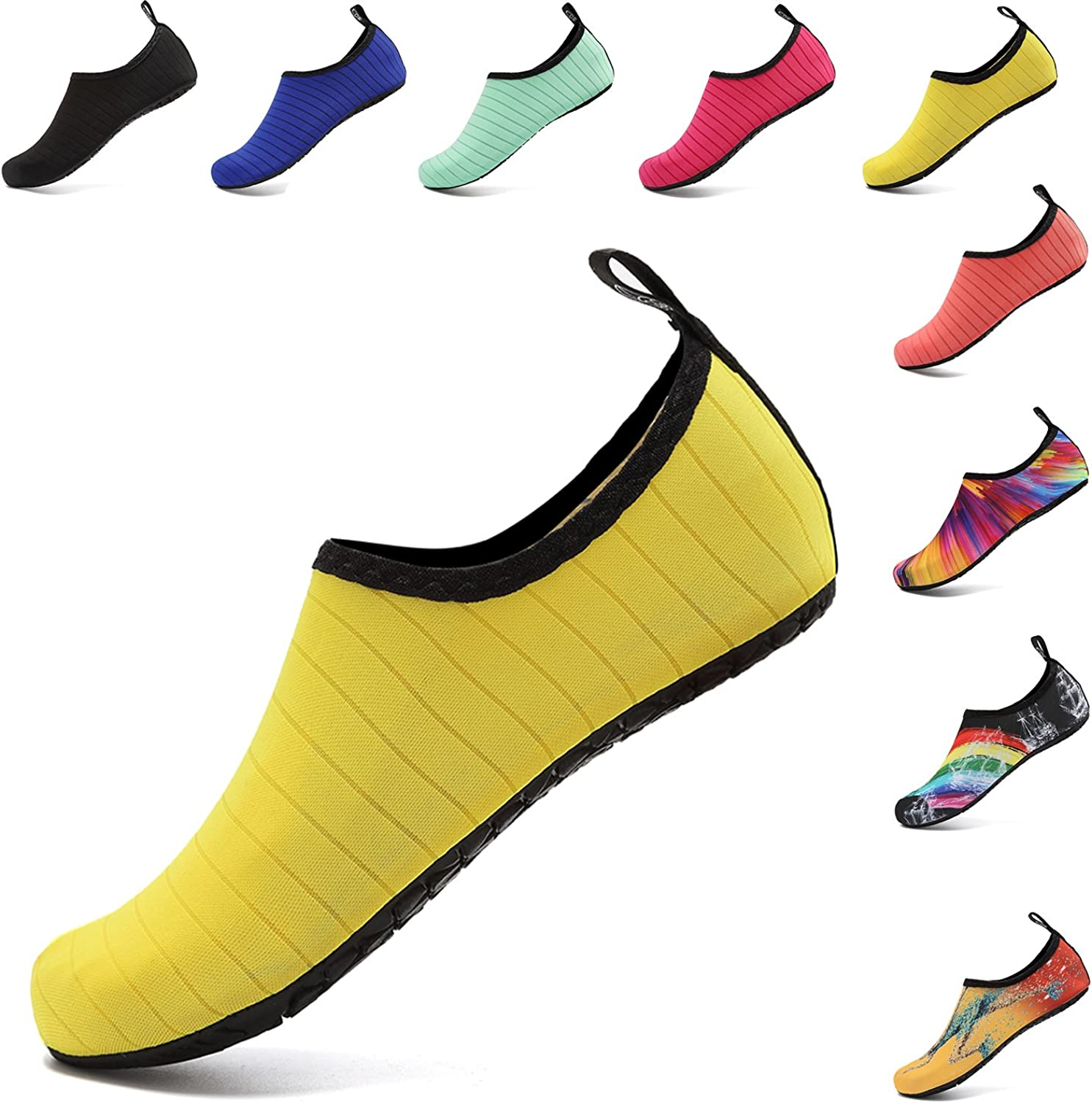 WAWEN Water Sports shoes Barefoot Quick-Dry Aqua Beach Swim Exercise Yoga Socks Slip-on for Mens and Womens