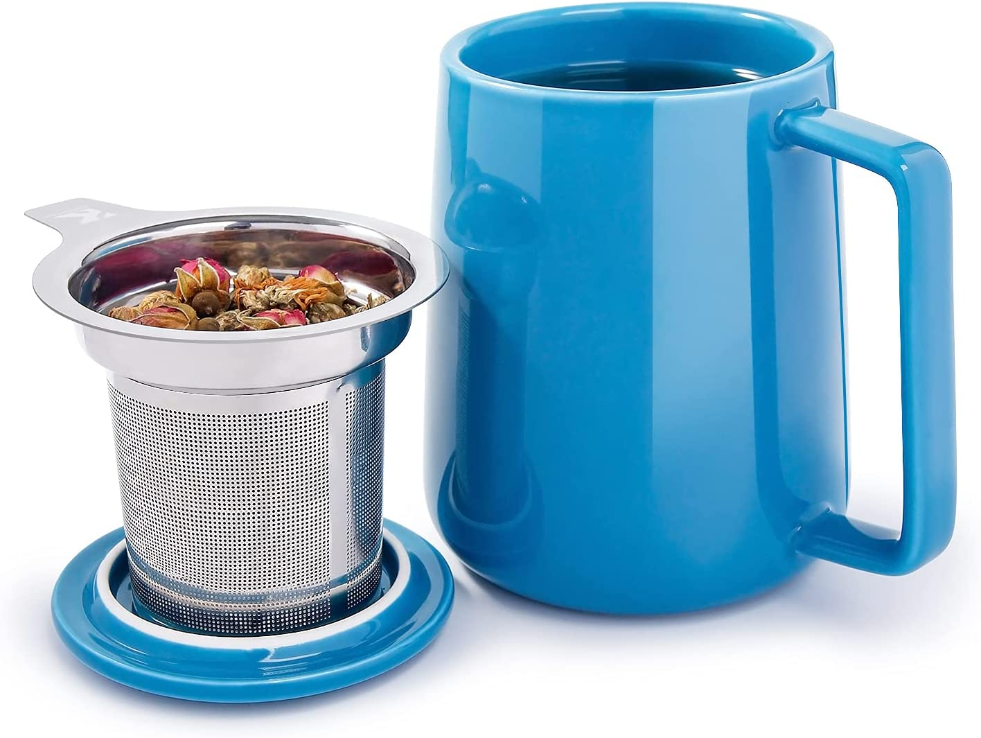 NEW Super beauty product restock quality top KitchenTour Ceramic Tea Mug with Infuser Lid - Capacit Large and