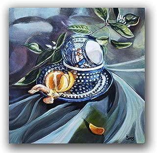 Polish Pottery Mug Still Life Art Print Flowering Peacock Polka Dots Blue Kitchen Gallery Wall Home Decor, Mat Option