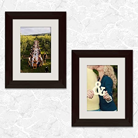 ArtzFolio Wall & Table Photo Frame D501 Dark Brown 6x8inch;Set of 2 PCS with Mount