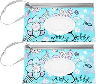 EXCEART 2pcs Wet Wipe Pouch Baby Wipe Case Holder Dispenser Reusable Wipes Tissue Carrying Case Container for Outdoor Travel
