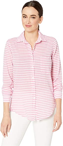 In the Pink Stripe Button Front Shirt with Hem Detail