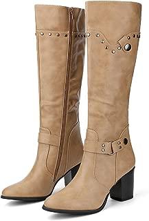 Women's Strap Chunky Heel Knee High Riding Boots
