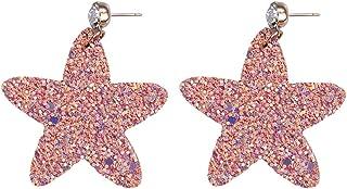 Heaven2017 Brincos pendentes de orelha femininos, brincos de couro sintético, estrelas de orelha, pingentes para mulheres,...