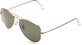 RAY-BAN RB3025 Aviator Large Metal Polarized Sunglasses, Gold/Polarized Green, 55 mm