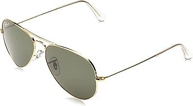 RAY-BAN RB3025 Aviator Large Metal Polarized Sunglasses, Gold/Polarized Green, 55 mm