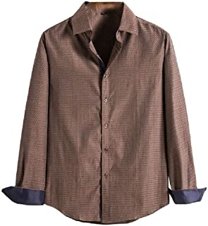 HEFASDM Men's Solid-Colored Turn Down Collar Relaxed Fit Loose Longshirt