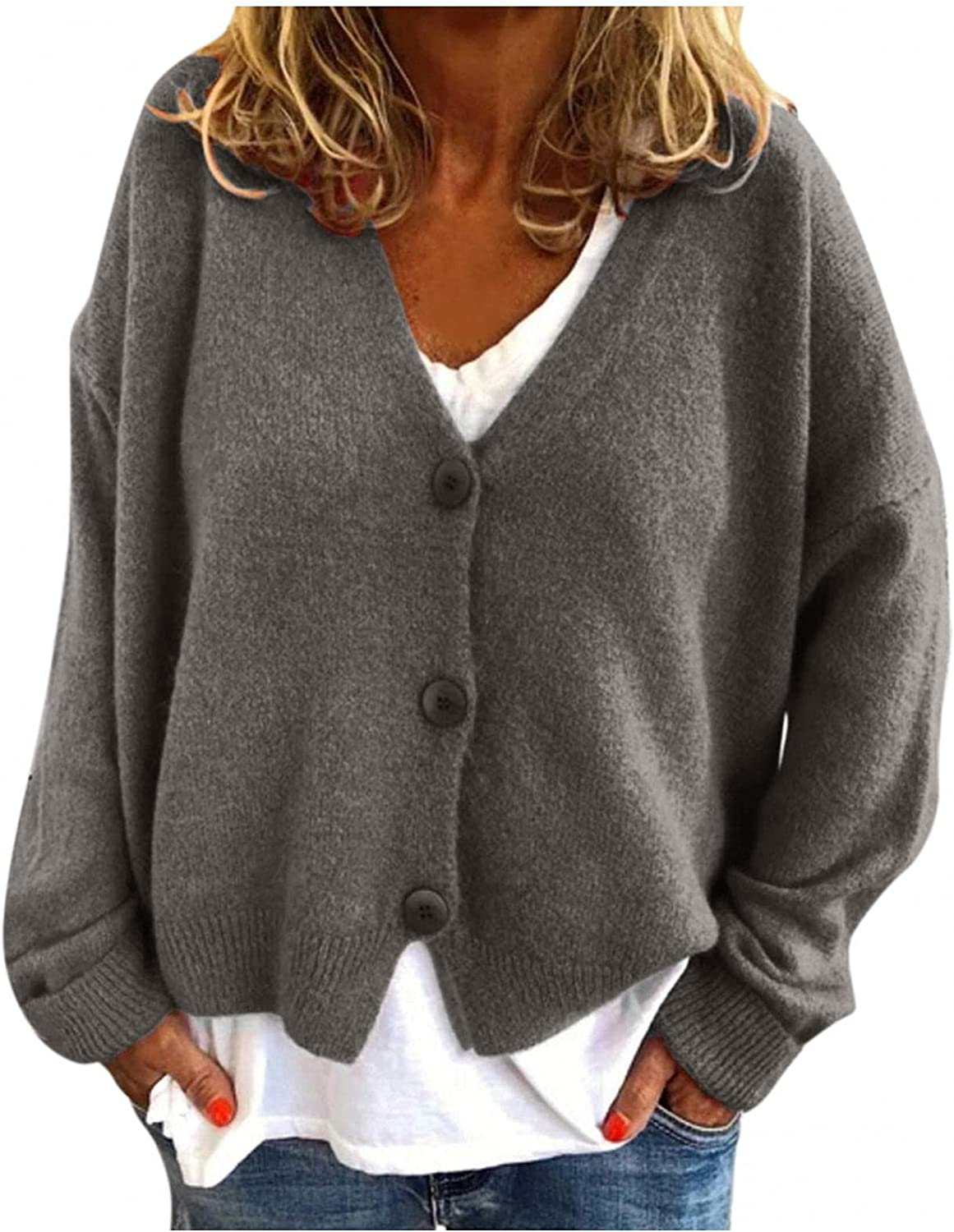 Eduavar Sweaters for Women Cardigan Long Sleeve Cable Knit Sweater Open Front Cardigan Top Casual Loose Fall Button Coat