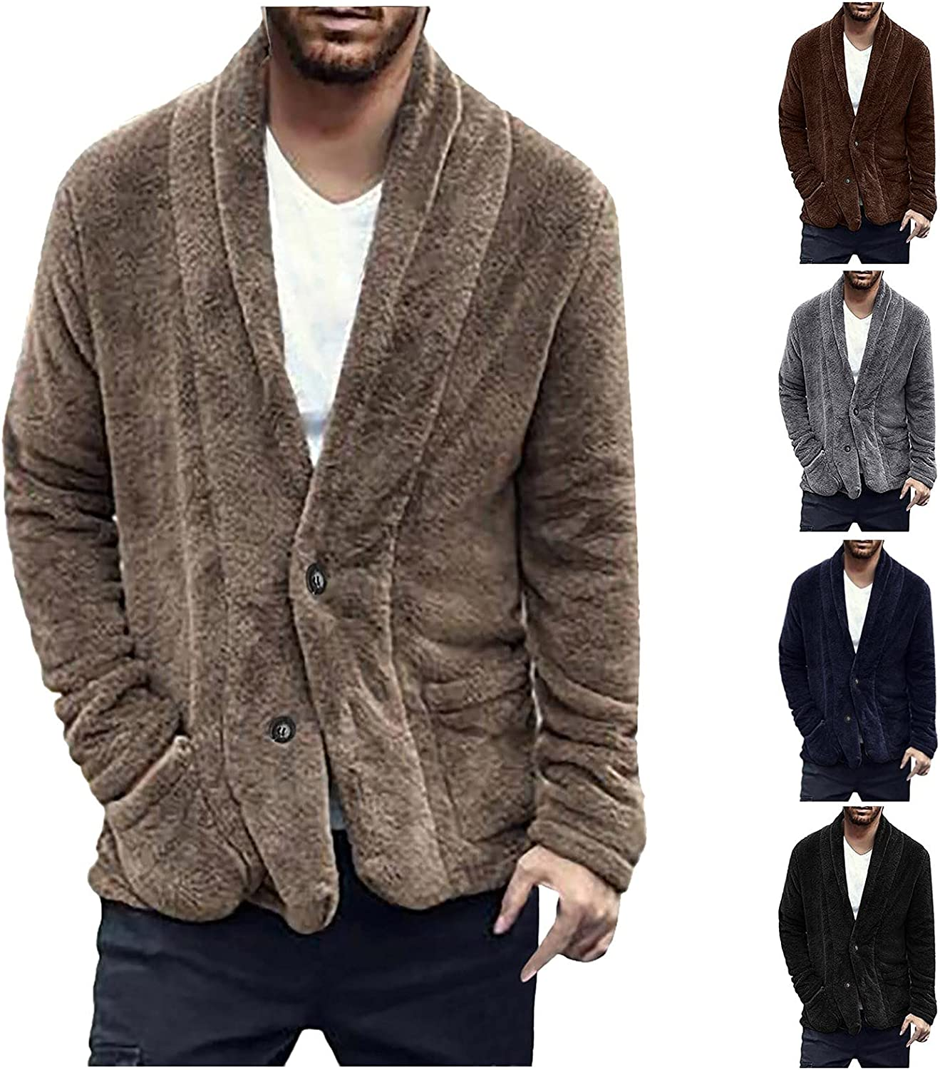 Huangse Men's Winter Two Side Polar Fleece Jacket with Pocket Button Down V Neck Cardigan Casual Loose Bathrobe Style Jacket