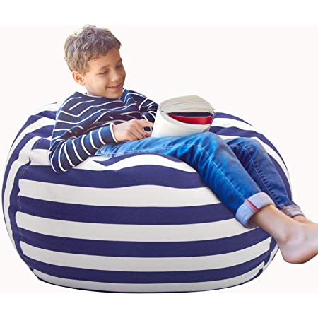 """Aubliss Stuffed Animal Storage Bean Bag Chair Cover Only for Plush Toys, Blankets, X-Large 48""""-Canvas Stripes Royal Blue"""