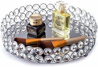 Feyarl Plateau décoratif de rangement de produits cosmétiques en perles de cristal avec fond miroir (argenté)