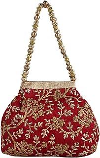 Kuber Industries Women's Polyester Embroidered Potli Bag, Maroon (CTKTC04387)